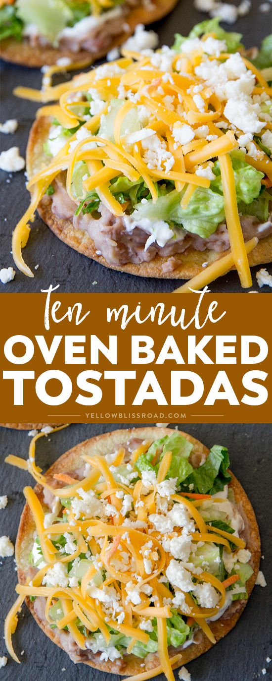 Crunchy 10 Minute Oven Baked Tostadas take minutes to make and are better for you than frying. Easy meal any night of the week and perfect for Cinco de Mayo! via @yellowblissroad