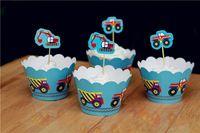 Бесплатная доставка грузовик кекс обертки и ботворезы выбирает украшения дети на день рождения ну вечеринку сувениры и сад ( 60 шт. обертывания 60 цилиндры )