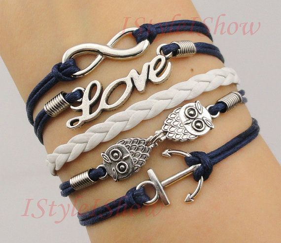 Infinity bracelet,love Bracelet,anchor bracelet,owls bracelet,antique silver-Personalized Bracelet,friendship bracelet