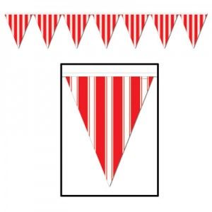 Red & White Striped Party Banner 12 Pennants