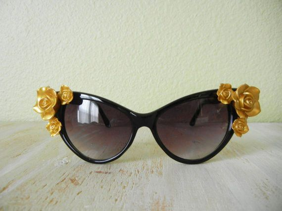 The Betty's Cat Sunglasses Rose Floral Cat by GracedVestige
