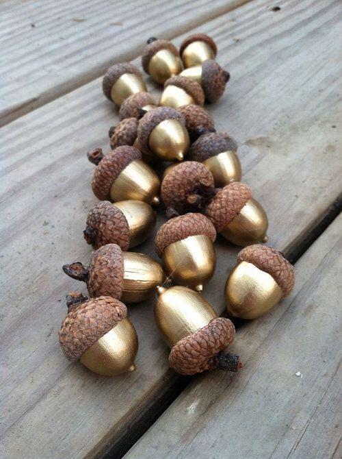 Nüsse - DIY - Nüsse mit Goldspray besprühen. Die schönste Herbstdekoration.