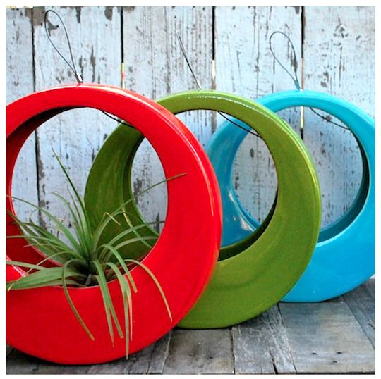 Recycled Tyre Planters.  Gloucestershire Resource Centre http://www.grcltd.org/scrapstore/