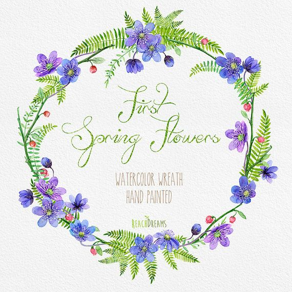 Watercolor Flower Wreath with First Spring Flowers. от ReachDreams