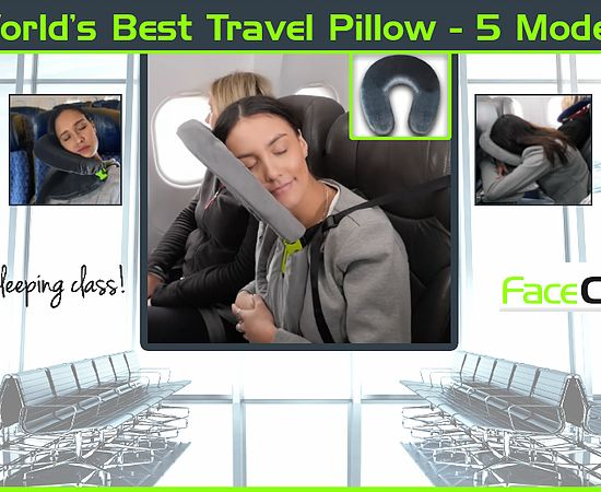 FaceCradle enables Deep Sleep during seated travel. It converts from a U neck to several different positions