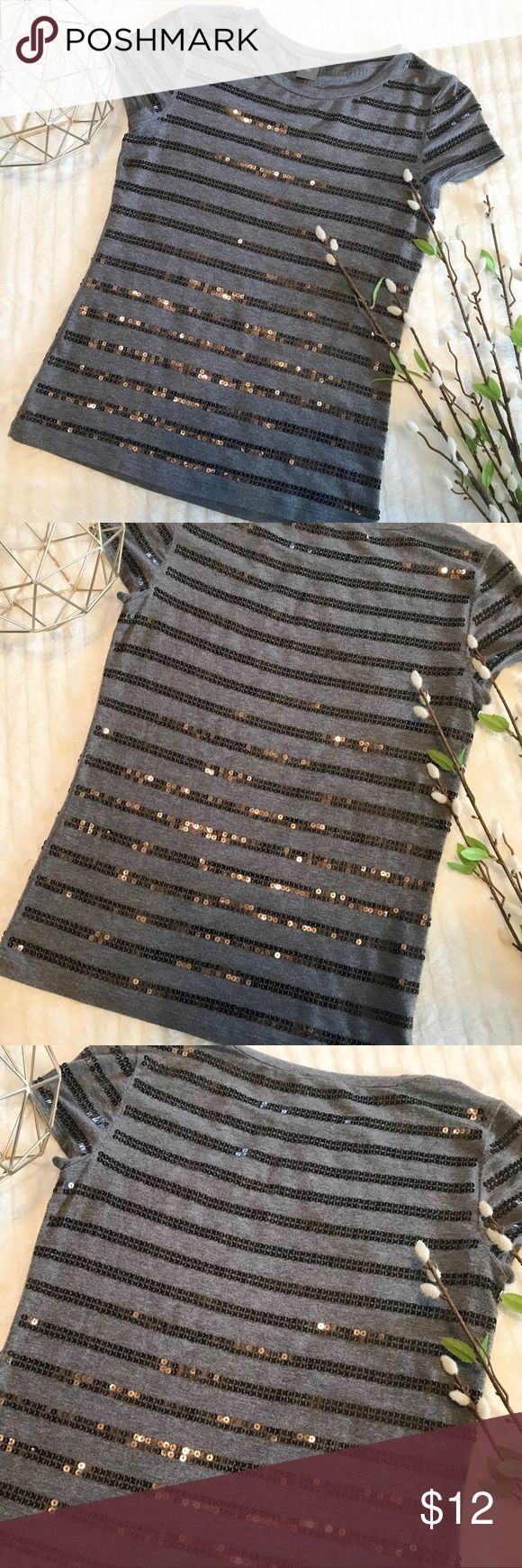 Ann Taylor Sequence Top Adorable Ann Taylor Petites Short Sleeve with Black sequence in stripes. Soft and light weight. In good used condition. Size XSP. 95% Rayon, 5% Spandex. Ann Taylor Tops Tees - Short Sleeve