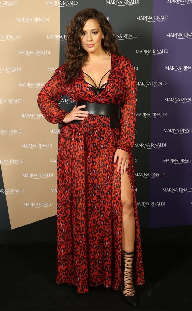 29625d1079 Model Ashley Graham stuns in a sexy cheetah-print dress with leather  details during the launch of the Marina Rinaldi capsule collection by  Fausto Puglisi at ...