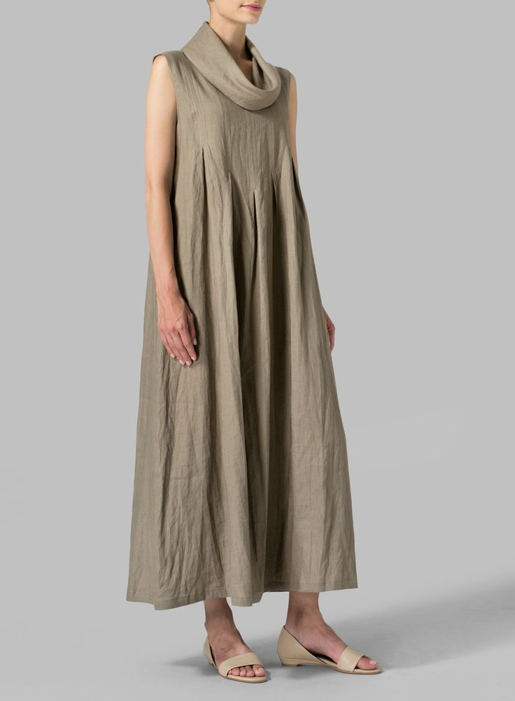 Linen Sleeveless Cowl Neck Long Dress - Plus Size
