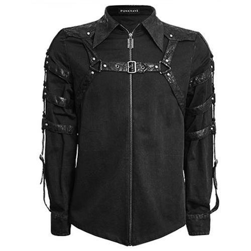 Black Long Sleeve Steam Punk Rock Fashion Casual Shirts for Men SKU-11407134