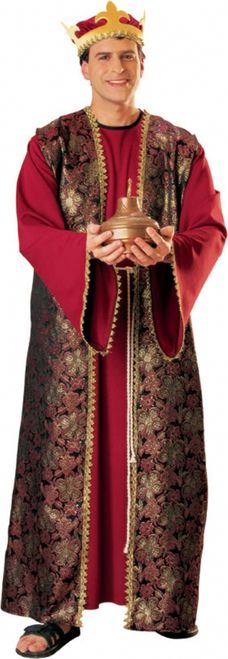 Gaspar Wise Man Nativity Costume - Set out from the Orient and travel towards Bethlehem carrying your gift as you follow the shining star dressed as King Gaspar, one of the fabled Three Wise Men.  This stately and magnificent one piece over-the-head outfit features at the front a deep red faux velvet front panel with matching sleeves which have been richly detailed with golden rik-rak braid. #christmas #mens #yyc #calgary #costume
