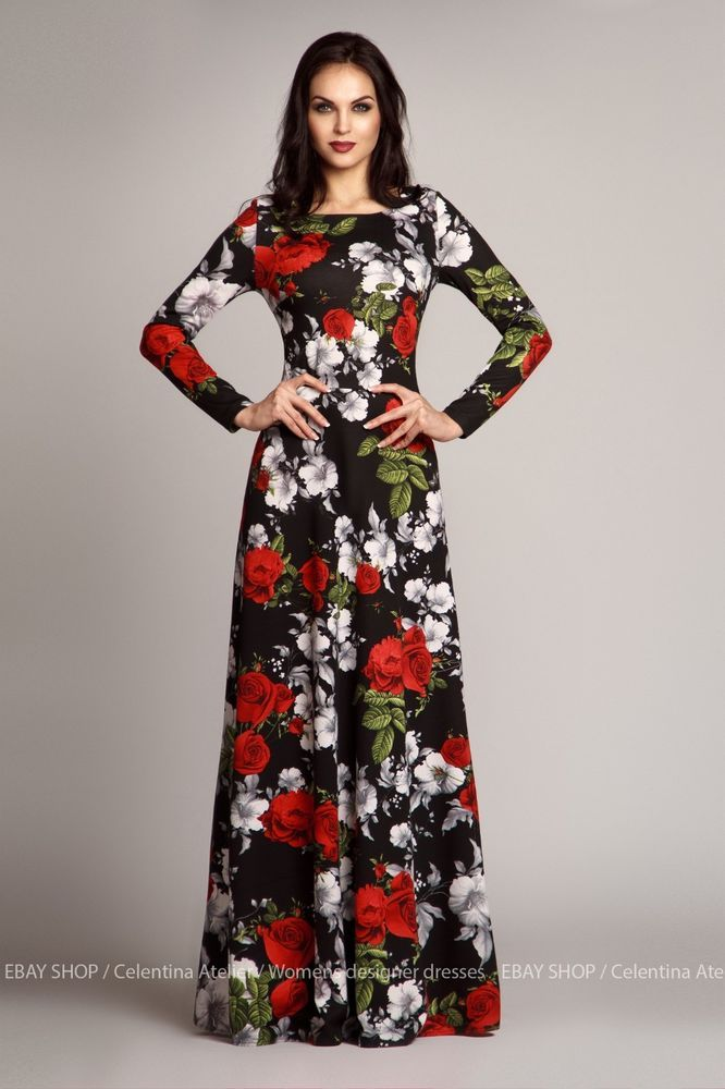 Maxi dress, Long dress,Floral dress, evening dress, dress with long sleeve