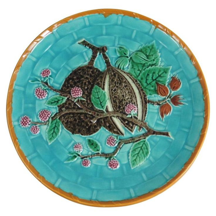 19th Victorian Majolica Exotic Fruit Wedgwood | From a unique collection of antique and modern dinner plates at https://www.1stdibs.com/furniture/dining-entertaining/dinner-plates/