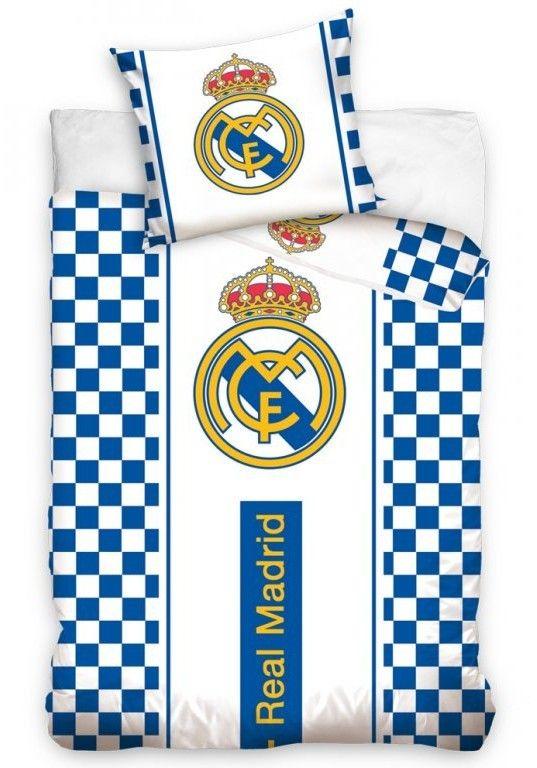 Fotbalové povlečení REAL MADRID CHECK bavlna hladká, 140x200cm + 70x90cm   Internetový obchod Chci POVLEČENÍ.cz
