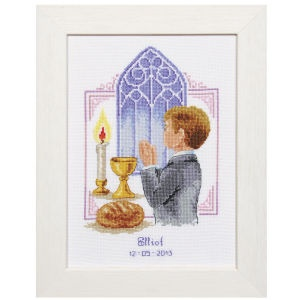 """His First Holy Communion  CELEBRATE THEIR FIRST HOLY COMMUNION with a personalized counted cross stitch commemorative. Kits include 18-count white Aida cloth, presorted DMC cotton floss, needle, chart, alphabet and directions. Each, 6 3/4"""" x 9 1/4"""" without frame. Imported from Belgium. Stitchery exclusives!    ****   His First Holy Communion  Item #:T21526  Price:$32.99"""