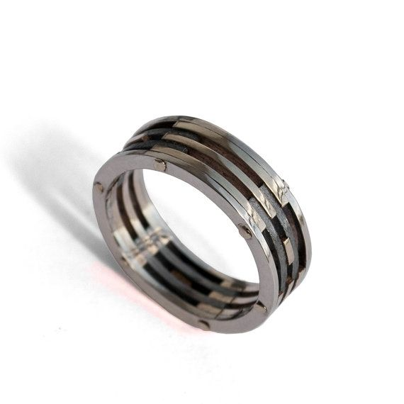 Gold Wedding Band, Men's 18K White Gold and Oxidized Silver Wedding band, steampunk, Wedding ring, black and gold ring on Etsy, $900.00