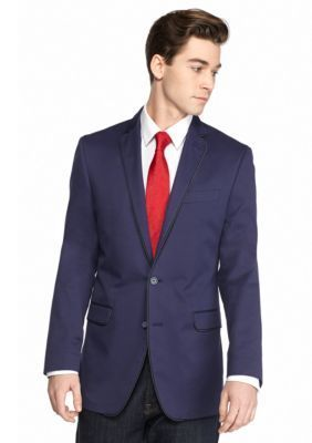 Tallia Orange Men's Slim-Fit Navy Sport Coat With Contrast Piping - Blue - 42 Short
