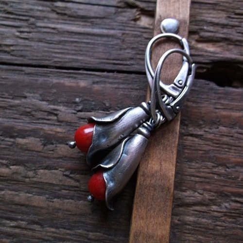 CORAL BUDS, red coral, sterling silver, flower cup, romantic earrings, coral earrings by pieceofmysoulArt on Etsy
