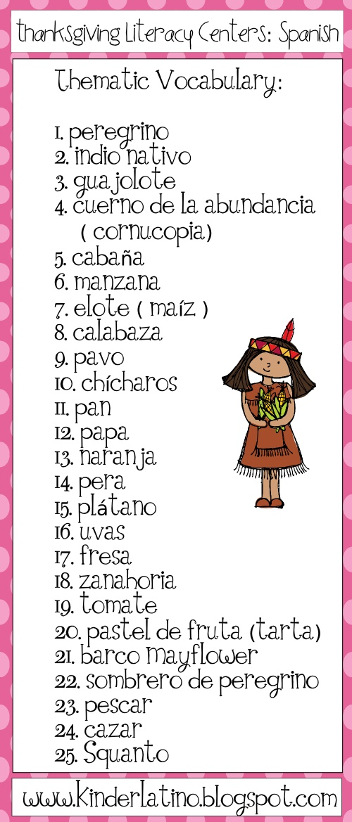 thematic vocabulary in spanish thanksgiving pinterest spanish thanksgiving and in spanish. Black Bedroom Furniture Sets. Home Design Ideas