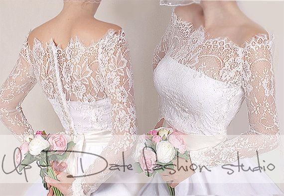 Off-Shoulder  milky white wedding bolero/ French Chantilly Lace /bridal shrug /jacket long sleeve