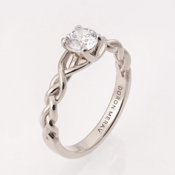 Braided Engagement Ring No.2 14K White Gold and by doronmerav