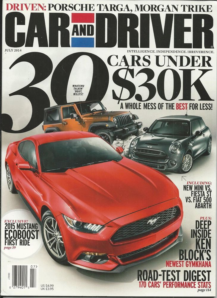 Car And Driver Magazine 30 Cars Under 30 Thousand 2015 Mustang