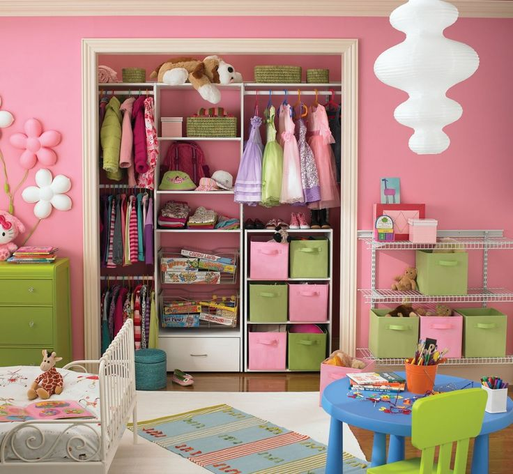 Decoration Ideas, Minimalist Pink And Green Playpen With Chic Blue Kids Table Also Cool White Vintage Children Bed: Interesting Storage Ideas for Wonderful Small Room