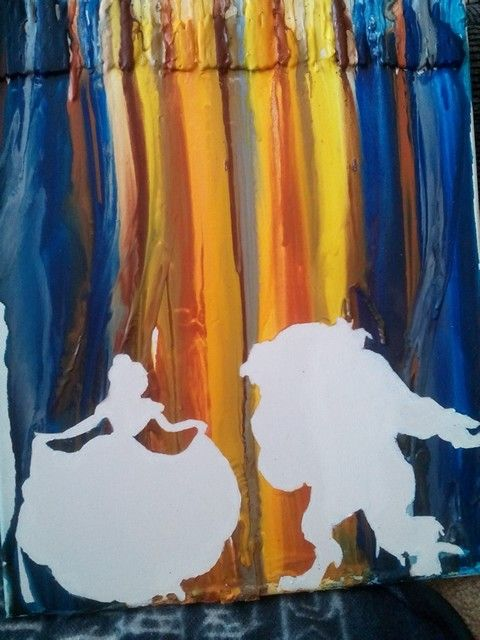 Beauty and the Beast melted crayon art.