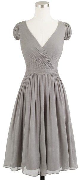 J.crew Mirabelle Dress in Silk Chiffon in Gray ---pretty! Put a cami underneath and would be perfect!