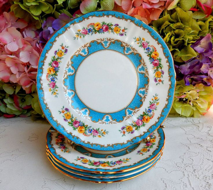 4 Vintage Crown Staffordshire Porcelain Salad Plates Lyric Tunis Blue Rose Gold #CrownStaffordshire
