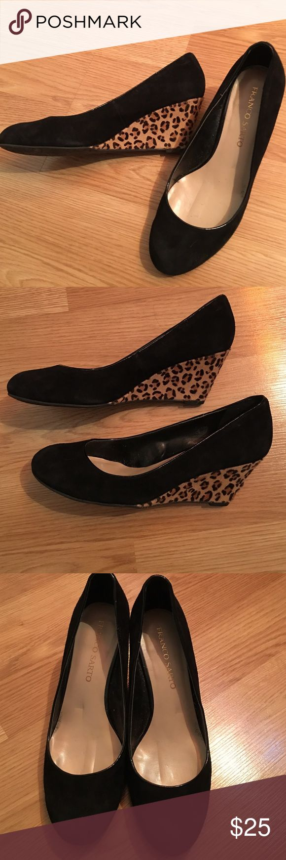 Franco Sarto Suede wedges with leopard heel Black suede wedge with leopard trim. One small blemish on heel but barely noticeable. Priced well! Franco Sarto Shoes Wedges