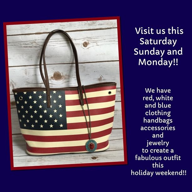 Shop with us this Saturday, Sunday and Monday! We'll be giving each of our lovely customers a reusable Clothes Mentor shopping tote (not flag tote pictured in image) You'll receive 25% off everything you can fit into the tote (excluding designer merchandise)!! #savings #memorialday #memorialdaysale #discounts #savebig #stockup