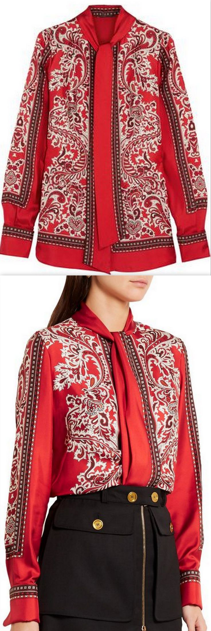 Paisley-Print Blouse, Red