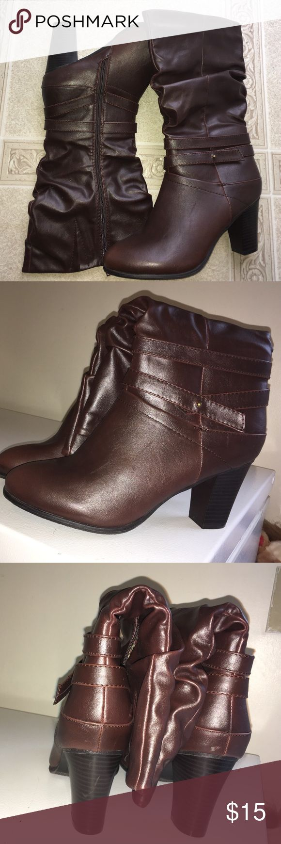 New brown wide calf boots Maurice's brown boots never worn wide calf heels 3.5 inches the are 18 circumference Maurices Shoes Heeled Boots