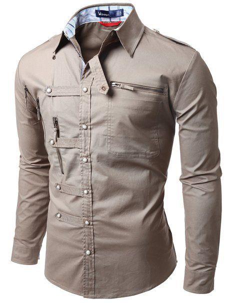 Doublju Mens shirts Zipper point