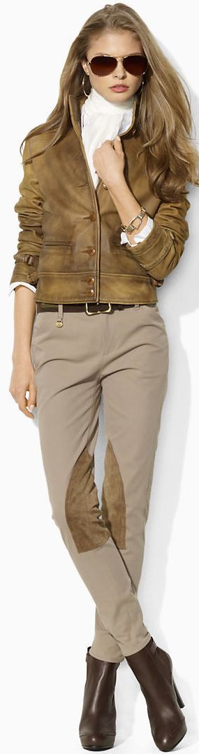 Ralph Lauren - the jacket, the aviator sunglasses, the leather patched pants and those boots...perfect styling of menswear for women.