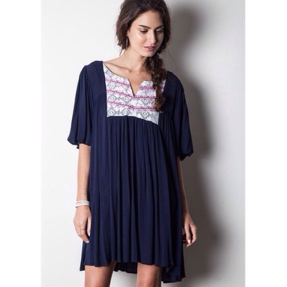 """""""La Belle"""" Navy Blue Dress Embellished lace front navy blue dress. Perfect for the weekends. Brand new without tags. NO TRADES. Bare Anthology Dresses"""