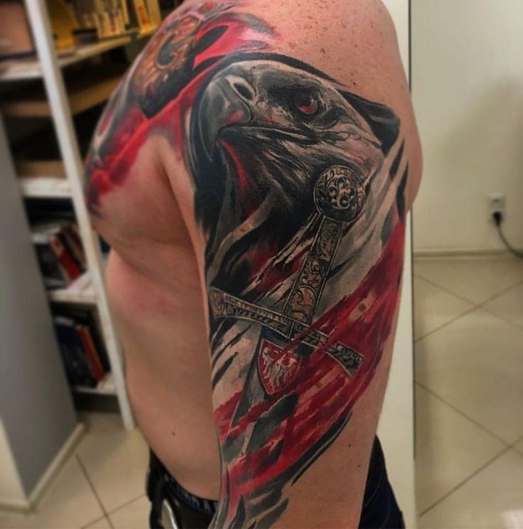 Patriotyczny tatuaż w wykonaniu KOSY ze studia Speak In Color - Wodzisław Śl. Zapisy oraz wszelkie info dostępne na www.speakincolor.pl