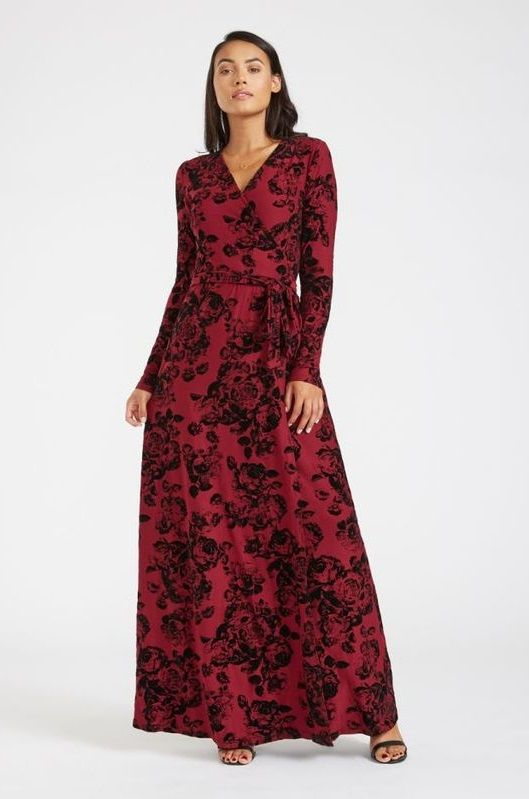 1b41218084a Floral Tall Maxi Dress Women - This wrap style maxi dress in a burgundy  floral print is designed for tall women.  fashionstyle  fashionlover   GetHerStyle ...