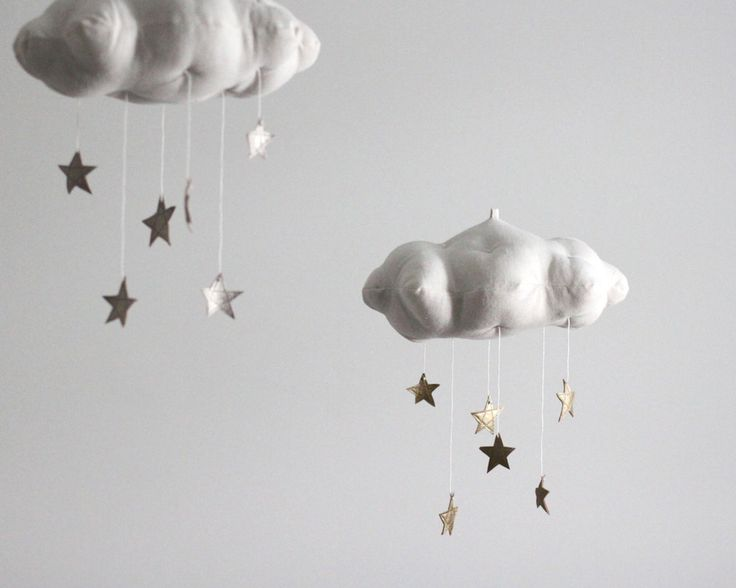 As seen on the cover of Today's Parent Magazine, this handmade cloud mobile is scattered with golden stars to twinkle and delight your little dreamer. The perfect touch for a modern nursery, the mobil