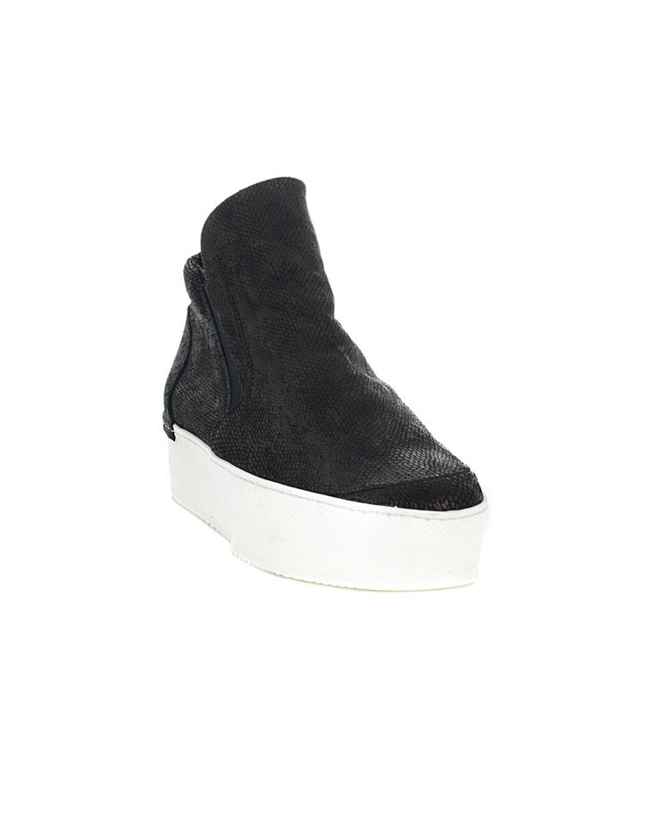 Black leather sneakers lizard print stretch inserts on the sides rubber sole  leather lining  Outer wedge heel: 5 cm
