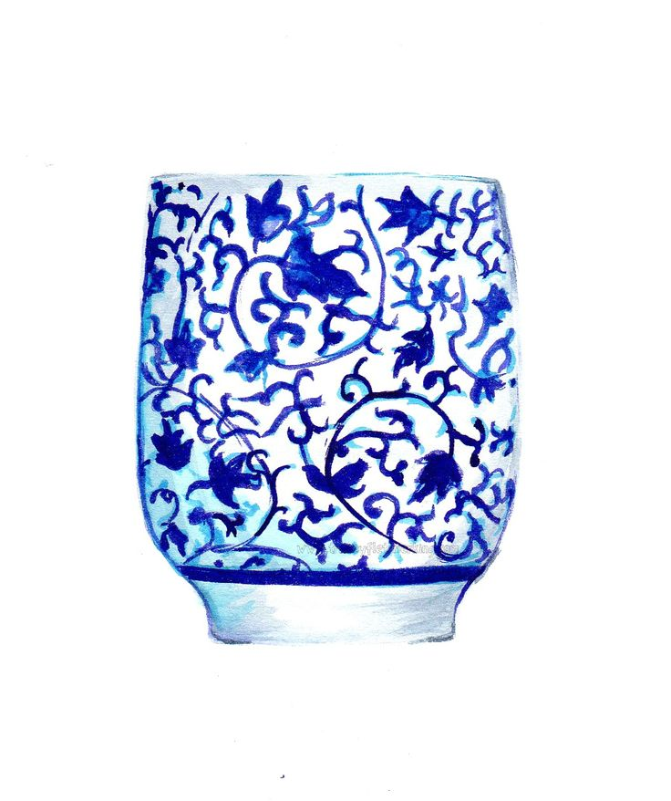 Blue and white china teacup. This is the first in a series of watercolours I am creating. I love blue and white as a pallette