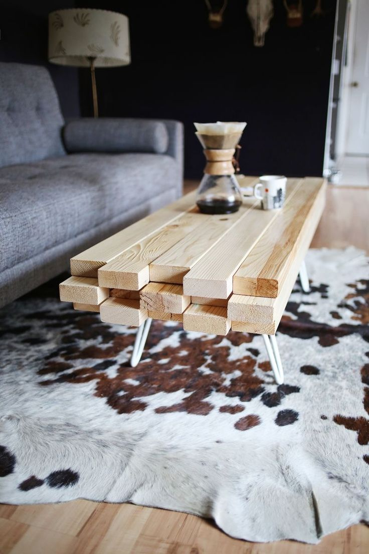Homemade Coffee Table With Wooden Log Top.  LOL that's not logs those are 2x4.