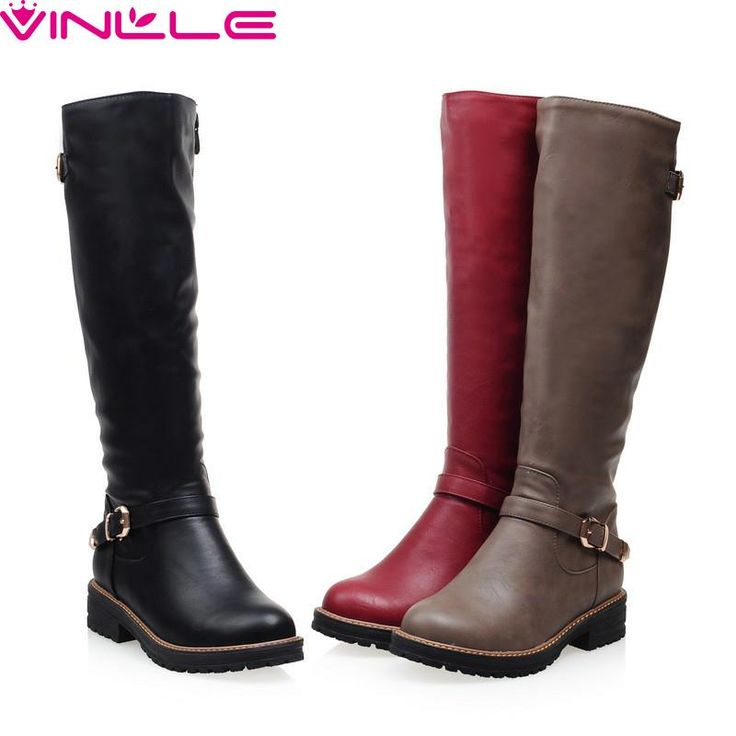 VINLLE 2017 Women Boots Winter Shoes Round toe Fashion Knee-high Boots PU Leather All-match Med-heel Black Grey Red Ladies Shoes