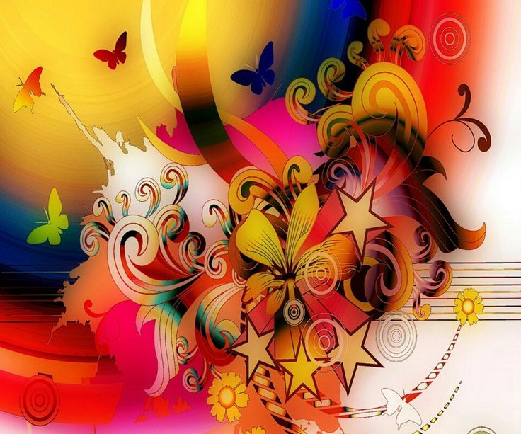 Free Desktop Wallpapers And Backgrounds With Flower Power II, Abstract,  Butterflies, Colorful, Flowrs. Wallpapers No.