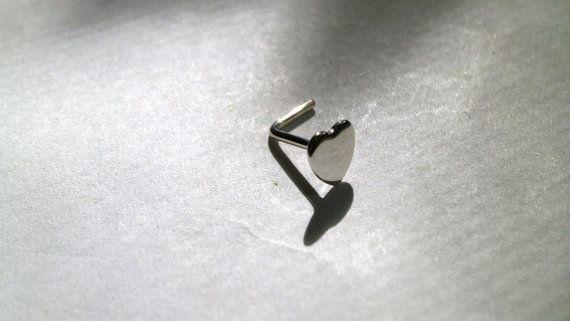 Tiny Nose Stud Heart Nose Stud Silver Nose Stud Minimalist