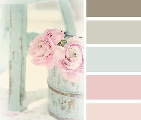 Im in love with shabby chic stuff.....1 day my house will have a room with nothing but shabby chic decor................Lovely shabby chic color palette- would make great colors for girl nursery.