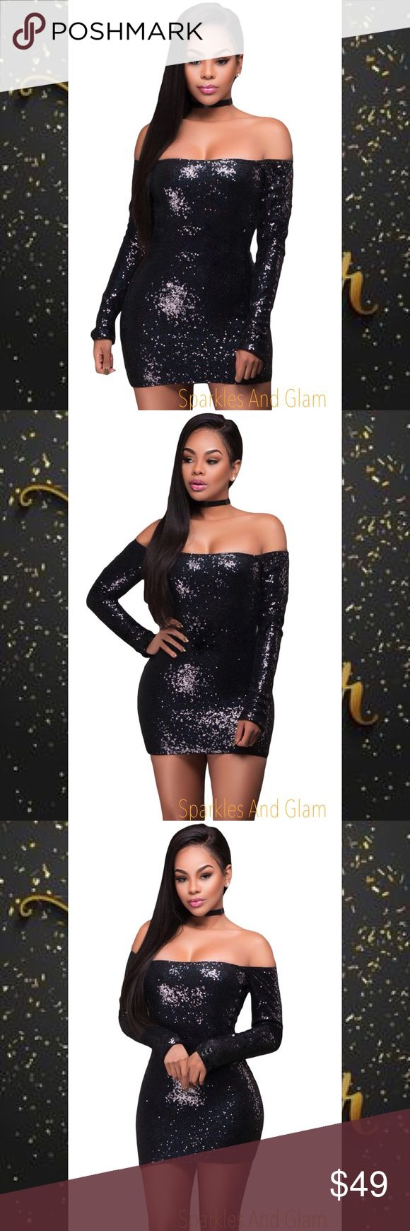 Black Sequins NYE Dress  This stunning sequin dress is perfect for any party activities! The mini sequins are perfect! Sexy off-shoulder design with a little stretch for a comfortable wear and a back zipper closure. Style it with heels and a fabulous rhinestone choker you're good to go !  Fast Shipping Smoke Free Pet Free Home Dresses Mini