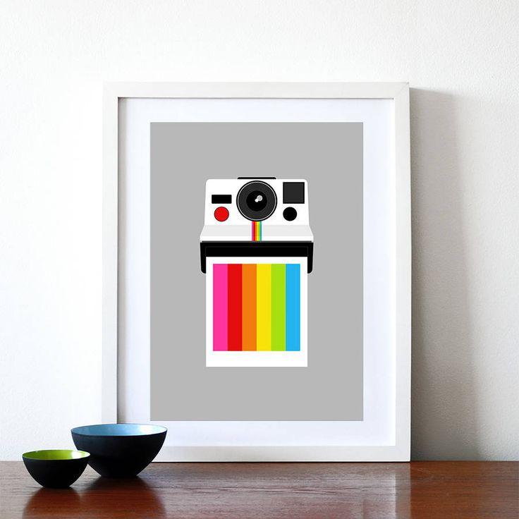Instant Rainbow Polaroid Camera Print