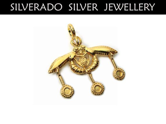Sterling Silver 925 Ancient Greek Minoan Bees Of Malia Goldplated 22K Pendant 28 mm on Etsy, 29,00€