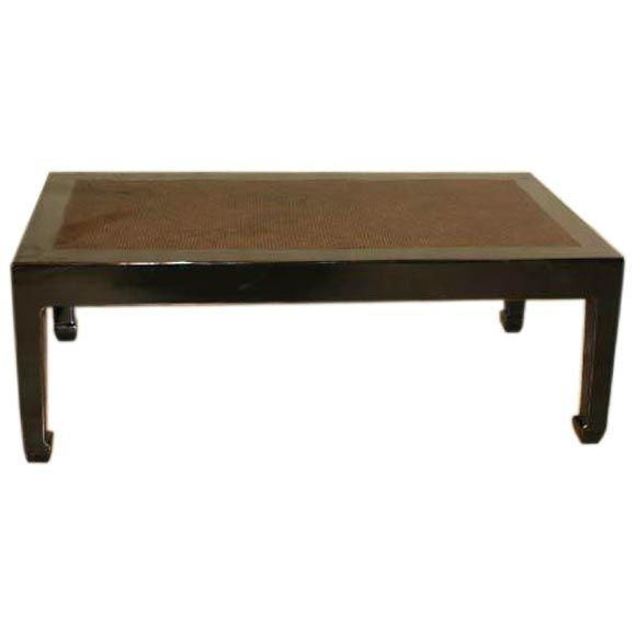Black Lacquer Low Table With Cane Top